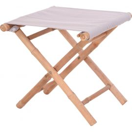 Tabouret pliable bambou assise blanche 45x45x45cm