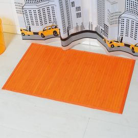 Tapis bambou grandes lattes orange 50x80cm