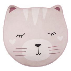 Tapis doux polyester chat rose D 90cm