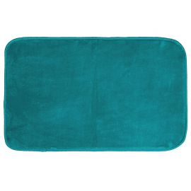 Tapis rectangle LOUNA velours bleu lagon 50x80cm
