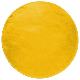 Tapis rond velours polyester LOUNA moutarde D 90cm