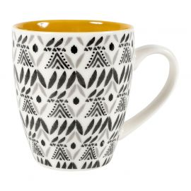 Tasse à café porcelaine ethnique moutarde 20cl