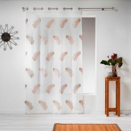 Voilage à œillets polyester sable broderie plumes taupe 140x240cm